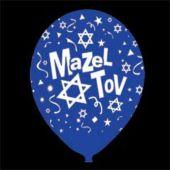 "Blue Mazel Tov Latex 14"" Balloons - 25 Per Unit"