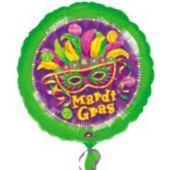 """Mardi Gras Masquerade Metallic Balloon- 18"""""""