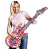 """Flower Power Inflatable Guitars - 42"""", 12 Pack"""