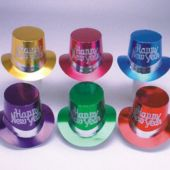 New Years Party Metallic Color Top Hats - Unit of 36