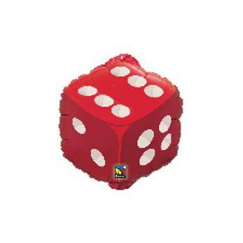 Red Dice Metallic Balloon - 18 Inch