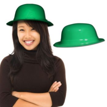 Green Plastic Derby Hats - 12 Pack