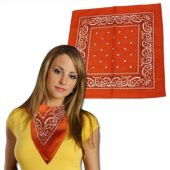Orange Cotton Bandanas - 12 Pack