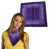 Purple Cotton Bandanas - 12 Pack