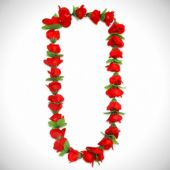 "Red Rose Silk Flower 36"" Lei"
