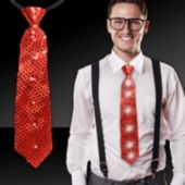 Red Sequin LED and Light-Up Necktie