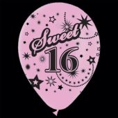 "Pink Sweet 16 Birthday 14"" Balloons -  25 Pack"