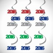 2016 Multi Color Foil Dangler Decorations-5 Pack