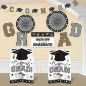 Black, Silver and Gold Graduation Decoration Kit