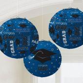 Blue Congrats Grad Lanterns-3 Pack
