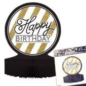 """Black & Gold Happy Birthday Centerpiece - 12"""""""