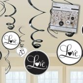 Black & White Wedding Swirl Decorations-12 Pack