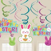 Happy Easter Swirl Decorations-12 Pack