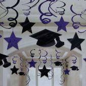 Purple Graduation Swirls Decorations-30 Pack