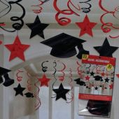 Red Graduation Swirl Decorations-30 Pack