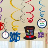 2015 Happy New Year Colorful Swirl Decorations-12 Pack