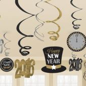 2016 Happy New Year Swirl Decorations-12 Pack