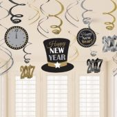 2017 Happy New Year Swirl Decorations-12 Pack