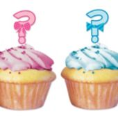 Baby Shower Question Mark Cupcake Toppers -12 Pack