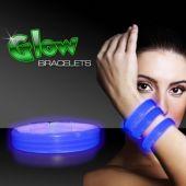 """Blue Glow Triple Wide Bracelets-9"""" -25 Pack"""