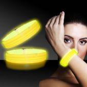 """Yellow Glow Triple Wide Bracelets-9""""-25 Pack"""