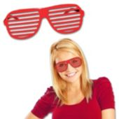 Red Slotted Glasses - 12 Pack