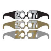 Black, Gold & Silver 2017 Glasses - 6 Per Unit