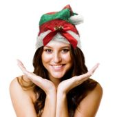 Red & Green Striped Santa Hat