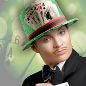 Casino Green Glitter Top Hat
