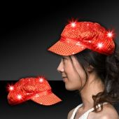 Red LED Sequin Newsboy Cap