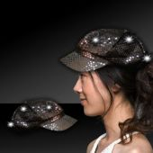 Black LED Sequin Newsboy Cap