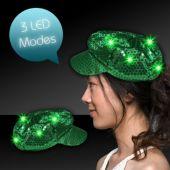 Green LED Sequin Newsboy Cap