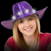 Purple LED and Light-Up Sequin Cowboy Hat