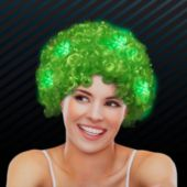 Green LED Afro Wig