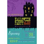 Purple Haunted House Halloween Party Invitation