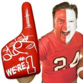 "Inflatable Number One Hands - 16"" Red, 12 Pack"