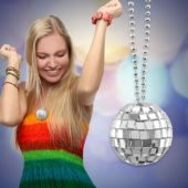 Mirror Ball Disco Necklaces - 12 Pack