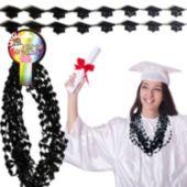 Black Bead Graduation Cap Necklaces–12 Pack