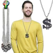 Dollar Sign Bead Necklaces - 12 Pack
