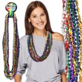 """Colorful Metallic Bead Necklaces-33""""-12 Pack"""