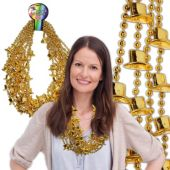 "Gold Bead Top Hat Necklaces-36""-12 Pack"