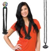 "Black Bead Football Necklaces-33""-12 Pack"