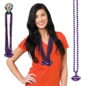 "Purple Bead Football Necklaces-33""-12 Pack"