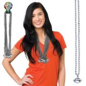 "Silver Bead Football Necklaces-33""-12 Pack"