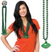 """Green Bead Football Necklaces-33""""-12 Pack"""