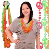 "Neon Peace Sign Bead Necklace-36""-12 Pack"