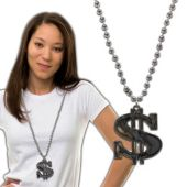 Silver Bead Dollar Sign Necklaces-12 Pack