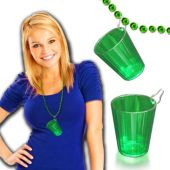 Green Plastic Shot Glass -2 oz