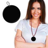 """Black Plastic Medallion – 2.5"""""""