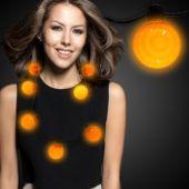 Orange LED and Light-Up Ball Necklace